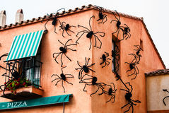 The house, on which sit many spiders.The sign Royalty Free Stock Photo