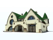 House on white background. House with green roof on white background 3D rendering 2 Royalty Free Stock Photos