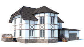 House on a white background. 3D Illustration Stock Image