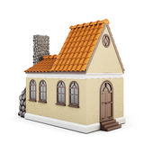 House on a white background with a roof of tiles Stock Photo
