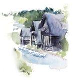 house wiejskiego wieśniacy Akwareli ręki rysować ilustracje royalty ilustracja
