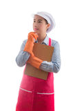 House wife presenting home cleaning services hand gesture for ad Stock Images