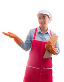 House wife presenting home cleaning services hand gesture for ad Stock Photography