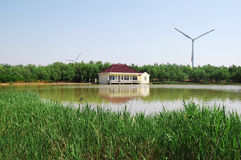 House and wind generators royalty free stock photo