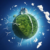 House and wind turbine on green planet stock illustration
