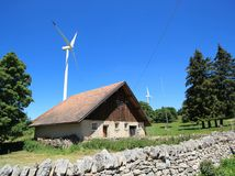House and wind turbines Royalty Free Stock Photo