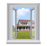 House through window Royalty Free Stock Photo