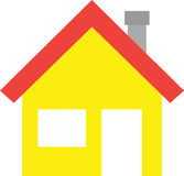 House with window and door. Red roofed yellow vector house icon with window and door Stock Image