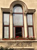 house-window-with-glass-tree-motif Royalty Free Stock Images