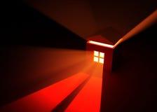 House Window Light. Red Light house Window, horizontal Royalty Free Stock Photo