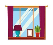 House window with light lamp picture and plant pot on shelf. Vector illustration graphic design royalty free illustration
