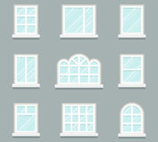 House windows building glass icons set flat design template vector illustration Stock Photography