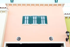 House windows. Window green house on the pink background Royalty Free Stock Photography