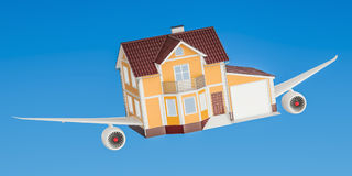 House with wings flying in the sky. Comfortable travel concept,. 3D Stock Photography