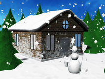 House in winter. An illustrated background showing an exterior view of a house in winter with trees and snowman in the garden Stock Images