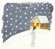 House in the winter blizzard Royalty Free Stock Photos