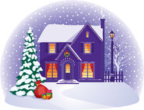 House in winter Christmas night Royalty Free Stock Photo