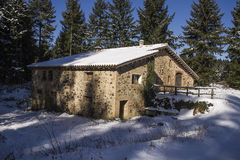 House in winter. House in a clear winter day in Catalonia Stock Photography