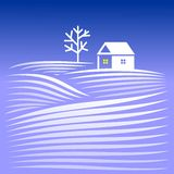 House in winter evening Royalty Free Stock Image