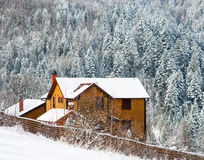 House in winter forest Stock Image