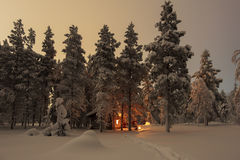 House in the winter forest Stock Images