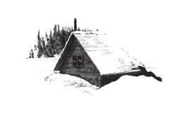 House in winter forest. Sketch of house in winter forest Stock Photography