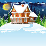House in winter forest Royalty Free Stock Image
