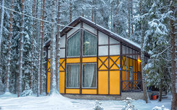 House in the winter forest Royalty Free Stock Image