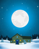 House In Winter Landscape. Illustration of a house or lodge inside winter snow landscape in the moonlight Stock Photography