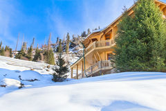 House in winter mountain Stock Photo