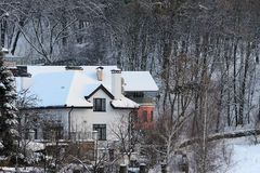 House in winter. Near forest royalty free stock images