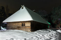House in the winter night Royalty Free Stock Photos