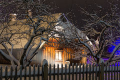 House in the winter night. Old country house in the winter night Royalty Free Stock Photos