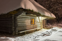 House in the winter night Stock Photography