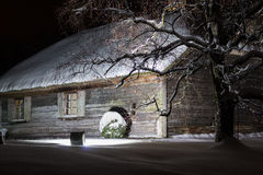 House in the winter night Royalty Free Stock Photography