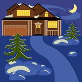 House in winter night Royalty Free Stock Images