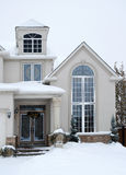 House in Winter - Overcast. Vertical shot of a house entrance in winter stock photography