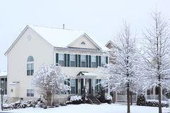 Winter House. House in winter snow storm with trees covered with snow Royalty Free Stock Photos