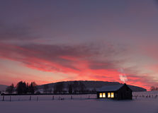 House in winter sunset Royalty Free Stock Photos