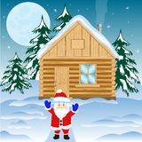 House in winter wood. And festive santa Royalty Free Stock Photography