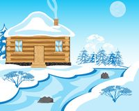 House beside in winter yard Royalty Free Stock Photos