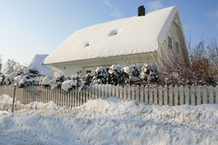 House in wintertime. A white house with a garden. It is a very cold day in Norway royalty free stock photo