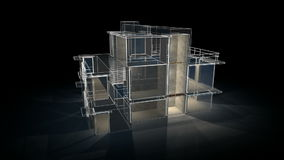 House wire. A 3D video animation of a modern house