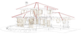 House wireframe. House plan on white background Royalty Free Stock Photos