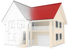 House wireframe, architectural drawing and. Visualization. 3d render Stock Photo