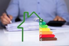 Free House With Energy Efficiency Rate On Desk Royalty Free Stock Image - 148945406