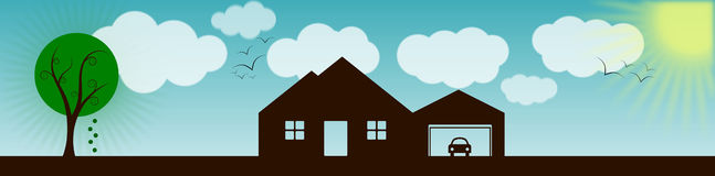 Free House With Landscape Banner Royalty Free Stock Photos - 29195808