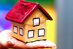 The house in woman hands Stock Photo