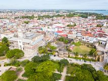 House of Wonders. Old Fort. Stone Town, old colonial center of Zanzibar City, Unguja. Tanzania. Aerial done photo. stock image