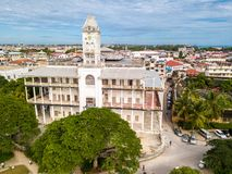 The House of Wonders. Stone Town, old colonial center of Zanzibar City, Unguja island, Tanzania. Aerial photo. The House of Wonders. Stone Town, old colonial royalty free stock photos